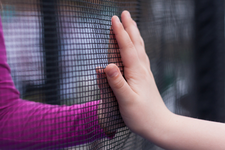 Two children parry their hands through a fence