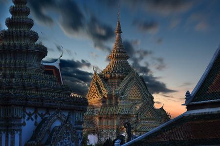 the grand palace: Wat Phra Kaew, Temple of the Emerald Buddha, Grand palace at twilight in Bangkok, Thailand