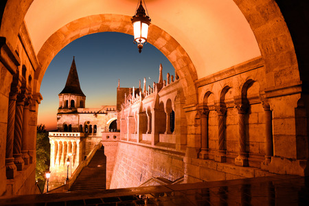 north gate: Budapest, Hungary - view through the north gate of Fishermans Bastion at sunset Stock Photo