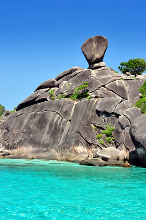 Rock the boat of symbols Similan Islands in Thailand, a beautiful tourist destination in the Andaman Sea