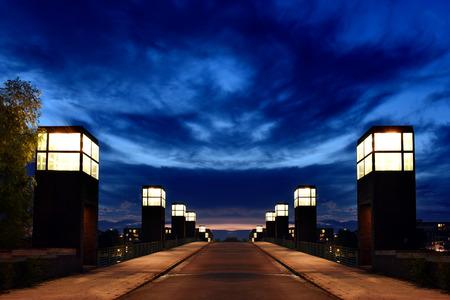 spandau: Spandau Lake Bridge at sunset, Berlin, Germany