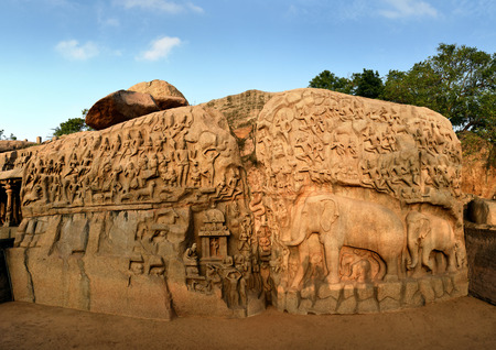 Arjuna's Penance a large rock carving in Mahabalipuram, Tamil Nadu, India