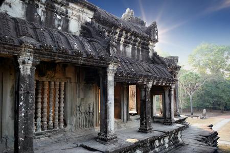 Khemer temple at Angkor Wat while sunrise, Cambodia Stock Photo