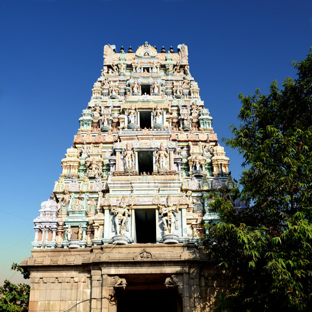 beautiful detail Work In Gopuram, Hindu temple Kapaleeshwarar, Chennai, Tamil Nadu, India