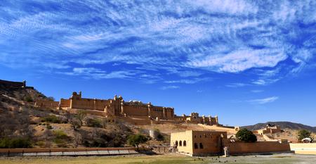 Amber Fortress and Palace panorama, Jaipur, Rajasthan, India 版權商用圖片