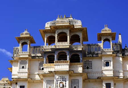 historical architecture of the Maharaja City Palace, Udaipur, Rajasthan, India Stock Photo
