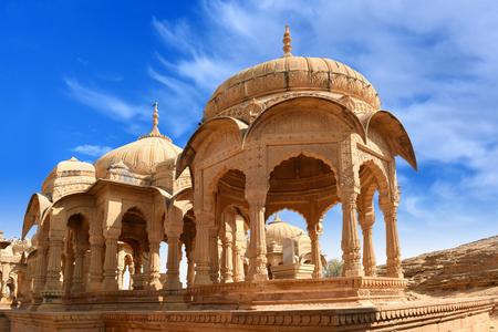 ancient royal cenotaphs and archaeological ruins at Jaisalmer Bada Bagh Rajasthan, India Stock Photo