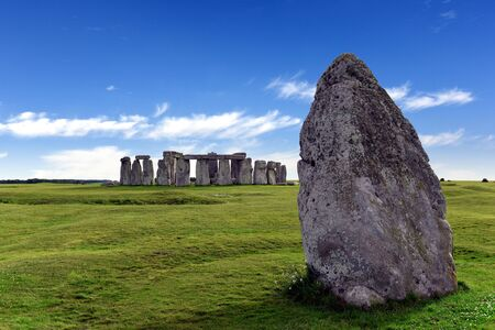 Stonehenge at ancient prehistoric stone monument of Neolithic and Bronze, built as a ring near Salisbury with dramatic sky, Wiltshire in England, United Kingdom Stok Fotoğraf