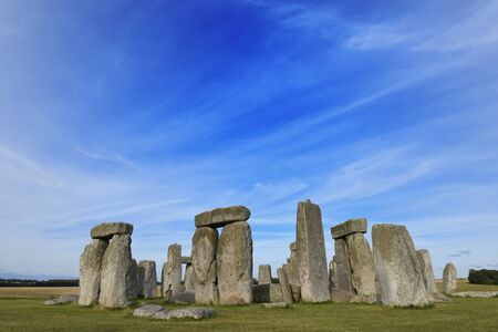 Stonehenge at ancient Prehistoric stone monument of Neolithic and Bronze, built as a ring near Salisbury with dramatic sky, Wiltshire in England, United Kingdom 写真素材