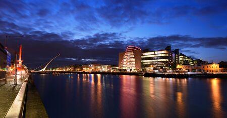 Samuel Beckett Bridge over Liffey river and docklands, Dublin, Ireland, the harp bridge