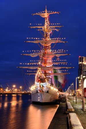 Port of Dublin, Ireland and embouchure docked on river Liffey