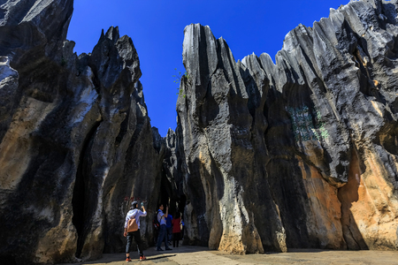 Landscape scenery view of a stone forest Editorial
