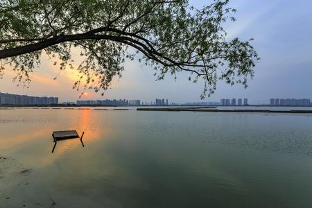 The sunrise of Jinyang Lake Stock Photo