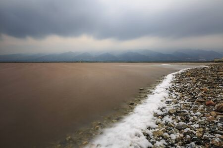 China's Dead Sea Salt Lake scenery in Yuncheng, Shanxi Province, China