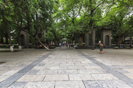 Scenery of Xiaoyan Tower Scenic Area in Xian Museum, Shaanxi, China Editorial
