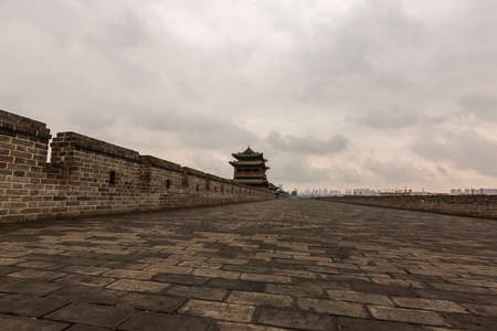 Scenery of the City Wall of Datong, China On September 23, 2020, a tour of the City Wall of Datong. The ancient city wall of Datong was built on the old soil city of the Yuangu City Wall in the fifth year of Hongwu in the Ming Dynasty (1372).