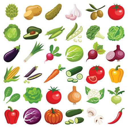 Collection d'icônes de légumes - illustration de couleur vectorielle Vecteurs