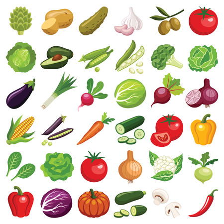 Vegetables icon collection - vector color illustration Иллюстрация