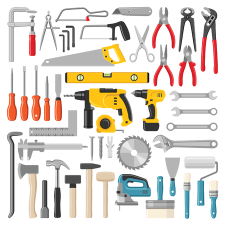 Construction tool collection - vector color illustration