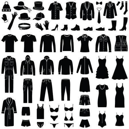 Tissu et collection d'icônes de mode - silhouette vecteur Vecteurs