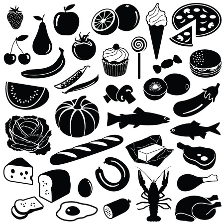 Food collection - vector silhouette illustration