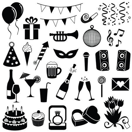 Party and celebration icon collection - vector silhouette illustration
