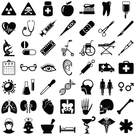 Medical and health care icon collection - vector illustration Illustration