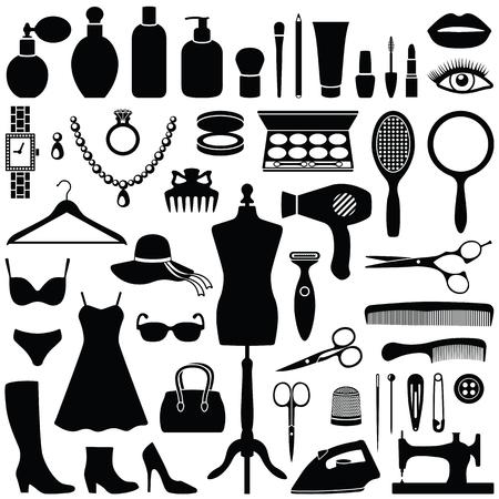 Colección de belleza y moda - silueta vectorial