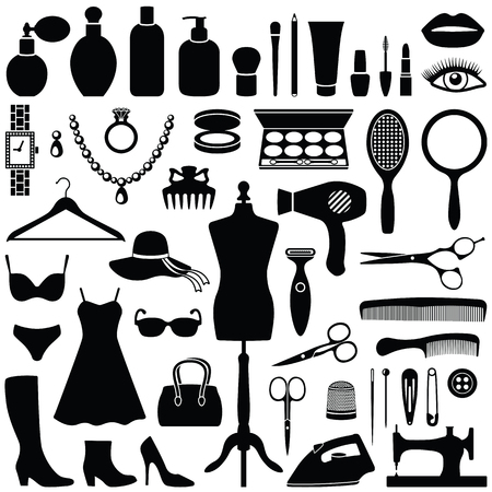 Beauty and Fashion collection - vector silhouette Illustration