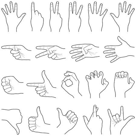 Handsammlung - Vektorlinienillustration Vektorgrafik