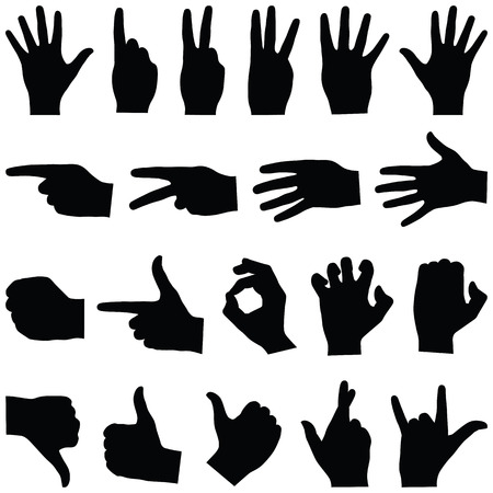 Hand collection - vector silhouette
