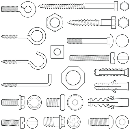 Wall hooks / bolts / nuts and wall plugs collection - vector illustration