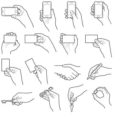 Hands collection - vector line illustration Illustration