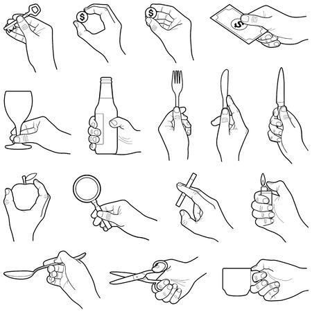 Hands with objects collection - vector line illustration
