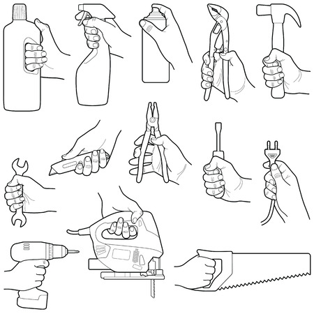 Hands with tools collection - vector line illustration