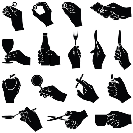 Hands with objects collection - vector silhouette illustration