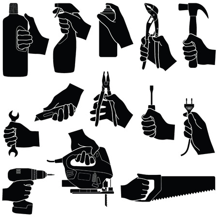 Hands with tools collection - vector silhouette illustration
