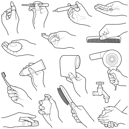 Hands with medical and care tools collection - vector line illustration