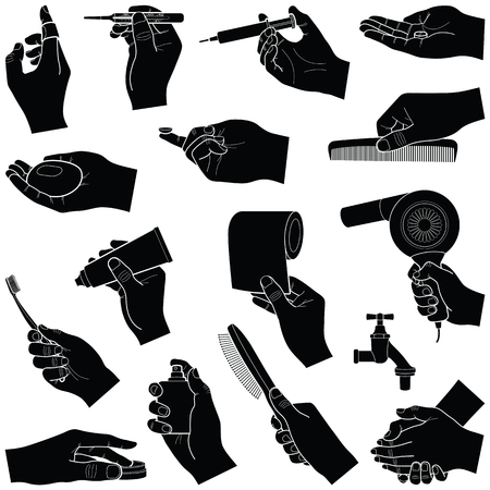 Hands with medical and care tools collection - vector silhouette illustration Illustration