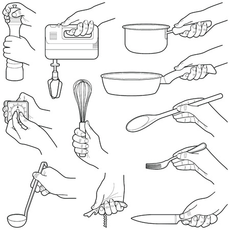 Hands with kitchen tools collection - vector line illustration Illustration
