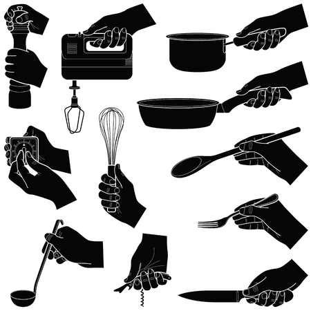 Hands with kitchen tools collection - vector silhouette illustration Illustration
