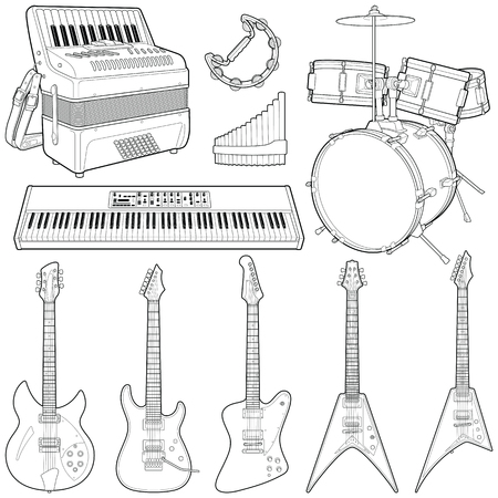 Music instruments collection - vector line illustration
