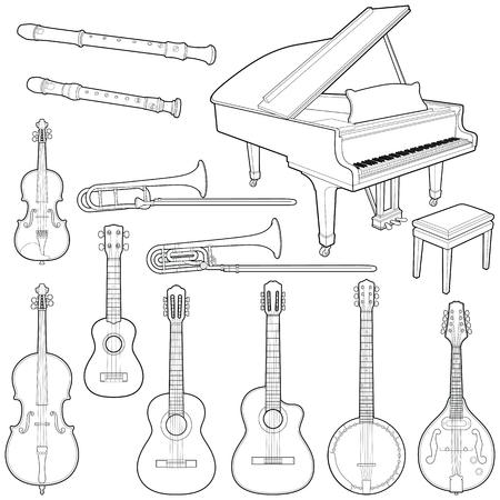 Collection d'instruments de musique - illustration vectorielle