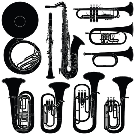 Music instruments collection - vector silhouette illustration Иллюстрация
