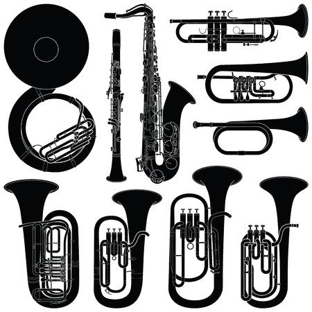 Sammlung von Musikinstrumenten - Vektor-Silhouette-Illustration