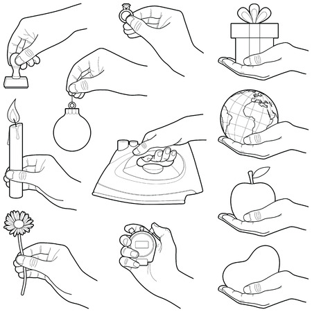 Hands with objects objects collection - vector illustration