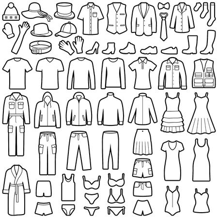 Collection d'icônes de vêtements - illustration vectorielle Vecteurs