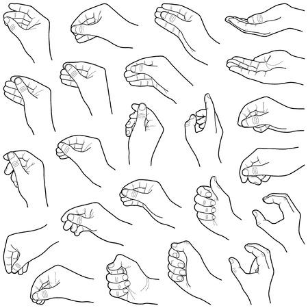 Collection de main - illustration vectorielle ligne