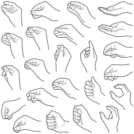 Hand collection - vector line illustration