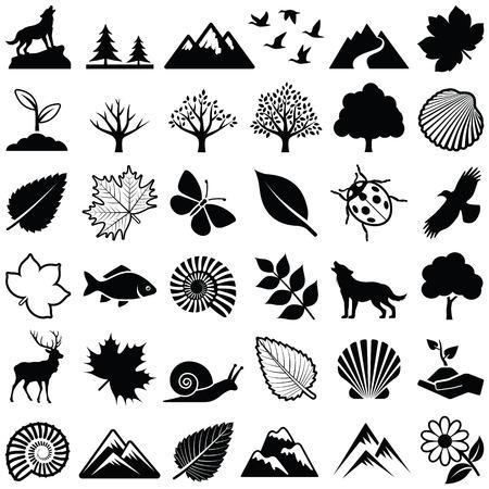 Collection d'icônes nature - illustration vectorielle Vecteurs